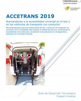 Portada ACCETRANS 2019. Acercándonos a la accesibilidad universal en el taxi y en los vehículos de transporte con conductor