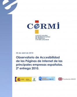 Portada Observatorio de accesibilidad de las páginas de Internet de las principales empresas españolas. 2ª entrega 2010