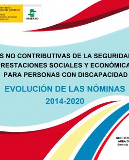Cubierta Pensiones no contributivas de la Seguridad Social y prestaciones sociales y económicas para personas con discapacidad. Evolución de las nóminas 2014-2020