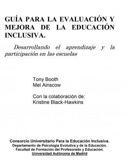 Portada Guía para la evaluación y mejora de la educación inclusiva. Desarrollando el aprendizaje y la participación en las escuelas