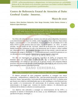 Cubierta COVID - 19 Recomendaciones y adaptaciones en intervenciones en actividades básicas de la vida diaria en la atención a personas con Daño Cerebral Adquirido. Recomendaciones para pacientes y profesionales.