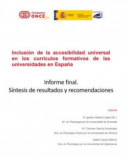 Portada Inclusión de la accesibilidad universal en los currículos formativos de las universidades en España Informe final. Síntesis de resultados y recomendaciones